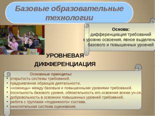 УРОВНЕВАЯ ДИФФЕРЕНЦИАЦИЯ Базовые образовательные технологии Основные прин