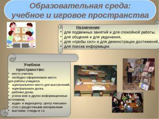Образовательная среда: учебное и игровое пространства Назначение: для подв