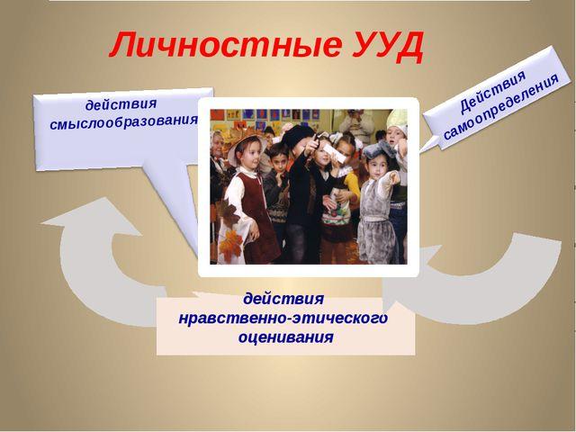 действия нравственно-этического оценивания Личностные УУД действия смыслообр...