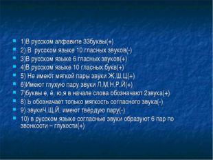 1)В русском алфавите 33буквы(+) 2) В русском языке 10 гласных звуков(-) 3)В р