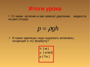 Итоги урока В каких единицах надо выражать величины, входящие в эту формулу?