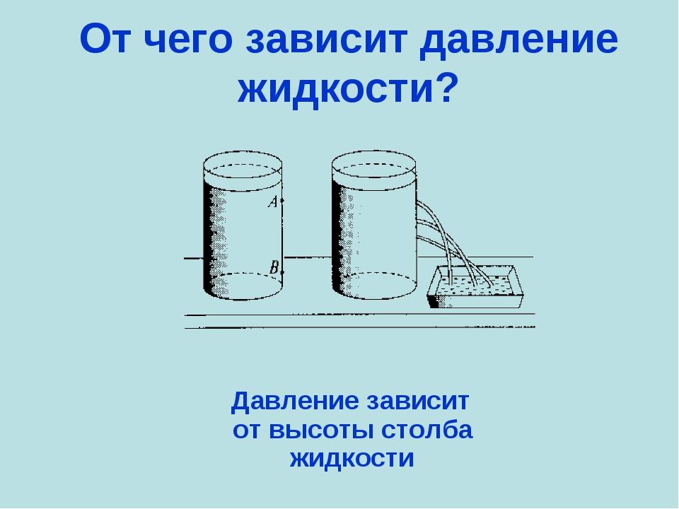 От чего зависит давление жидкости? Давление зависит от высоты столба жидкости