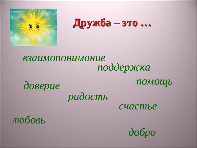 Дружба – это … взаимопонимание поддержка доверие радость счастье любовь помощ...