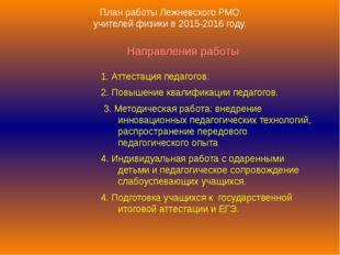 План работы Лежневского РМО учителей физики в 2015-2016 году. Направления раб