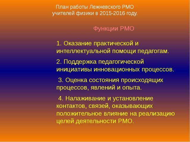 План работы Лежневского РМО учителей физики в 2015-2016 году. Функции РМО 1....