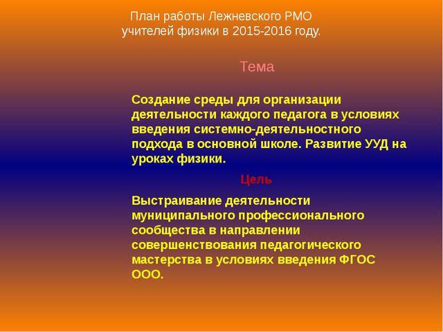 План работы Лежневского РМО учителей физики в 2015-2016 году. Тема Создание с...
