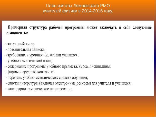 План работы Лежневского РМО учителей физики в 2014-2015 году.