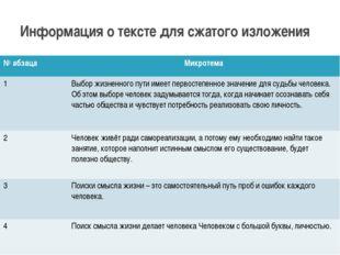 Информация о тексте для сжатого изложения № абзаца Микротема 1 Выбор жизненно