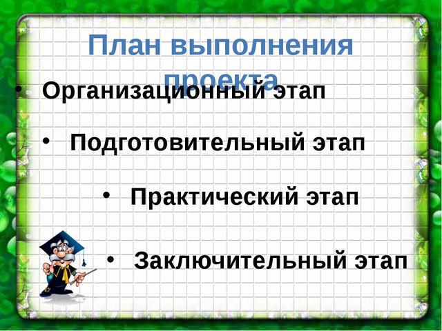 План выполнения проекта Организационный этап Подготовительный этап Практическ...
