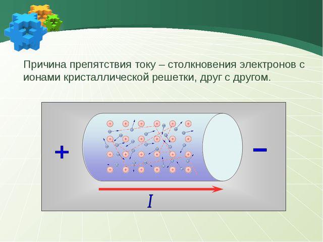 - - - - Причина препятствия току – столкновения электронов с ионами кристалли...