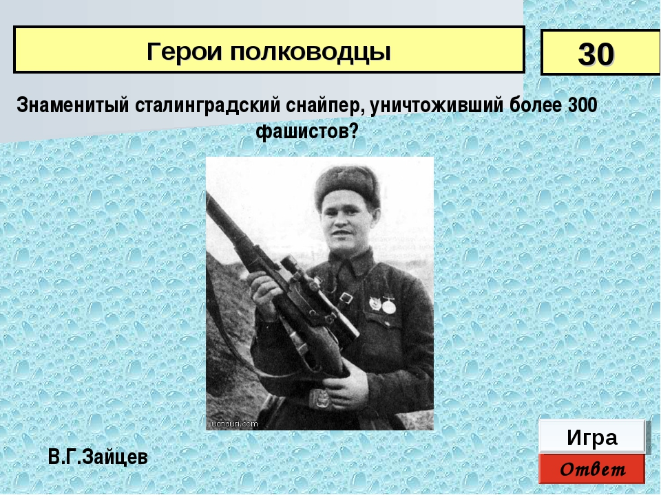 Ответ Игра В.Г.Зайцев Знаменитый сталинградский снайпер, уничтоживший более 3...