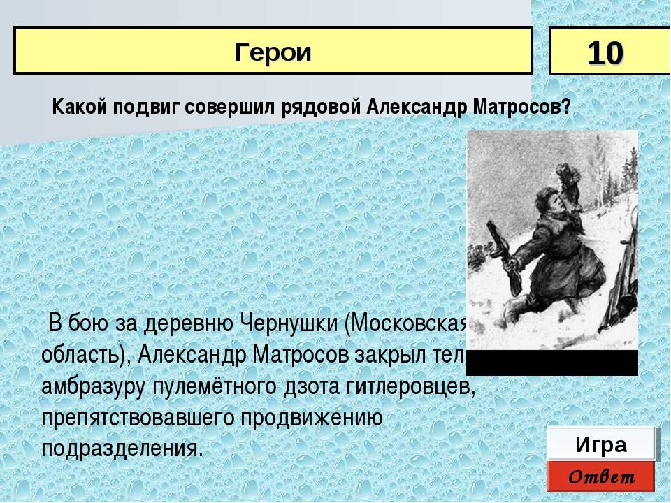 Ответ Игра В бою за деревню Чернушки (Московская область), Александр Матросов...
