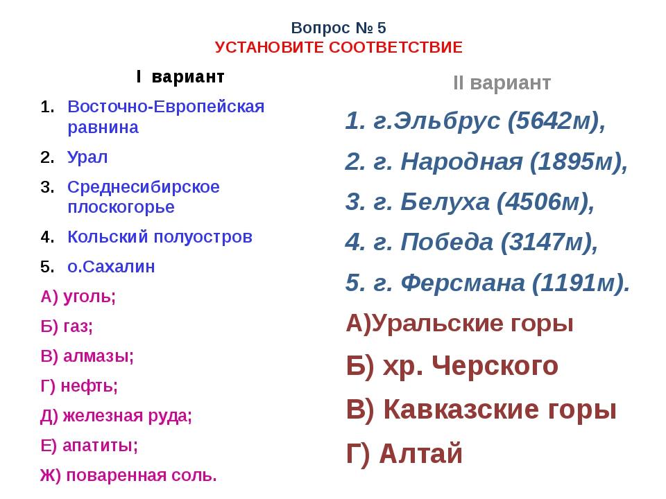 Вопрос № 5 УСТАНОВИТЕ СООТВЕТСТВИЕ I вариант Восточно-Европейская равнина Ура...