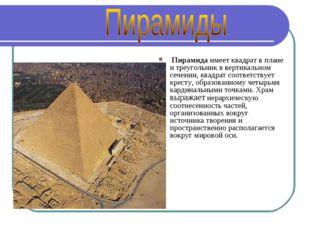Пирамида имеет квадрат в плане и треугольник в вертикальном сечении, квадрат