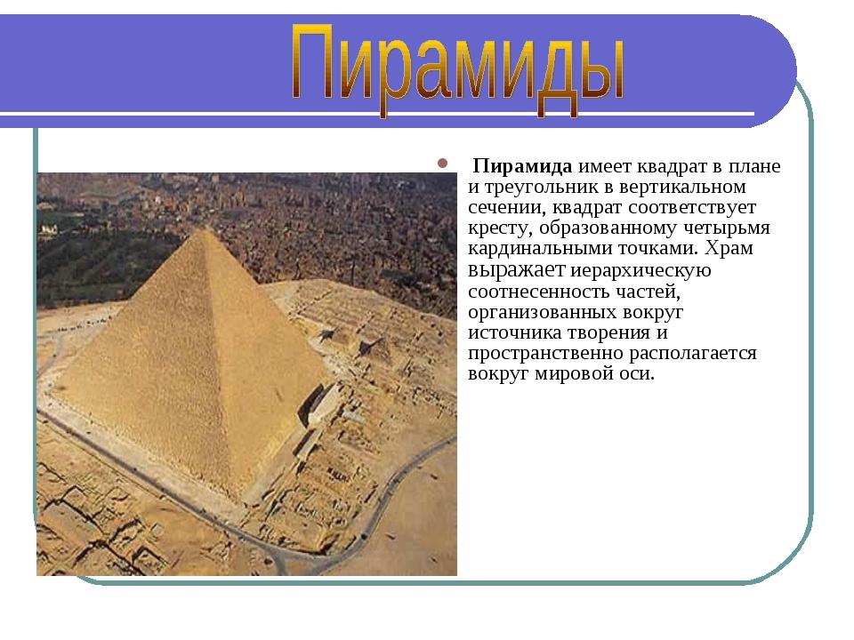 Пирамида имеет квадрат в плане и треугольник в вертикальном сечении, квадрат...