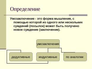 Определение Умозаключение - это форма мышления, с помощью которой из одного и