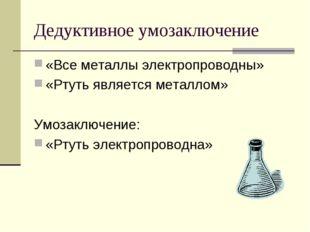 Дедуктивное умозаключение «Все металлы электропроводны» «Ртуть является метал