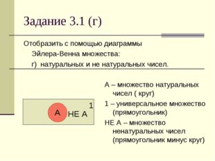Задание 3.1 (г) Отобразить с помощью диаграммы Эйлера-Венна множества: г) н