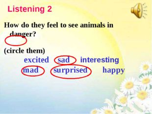 How do they feel to see animals in danger? (circle them) excited sad interest