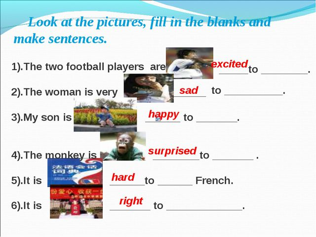 Look at the pictures, fill in the blanks and make sentences. 1).The two foot...