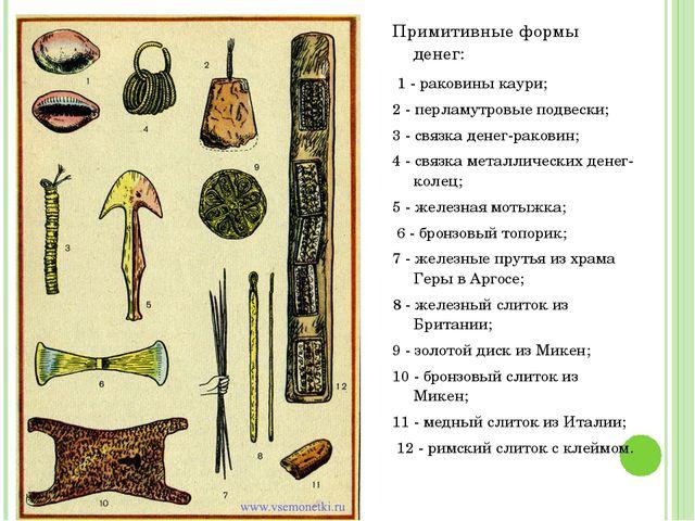 Примитивные формы денег: 1 - раковины каури; 2 - перламутровые подвески; 3 -...