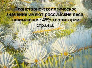 Планетарно-экологическое значение имеют российские леса, занимающие 45% терри