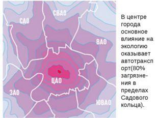 В центре города основное влияние на экологию оказывает автотранспорт(80% загр