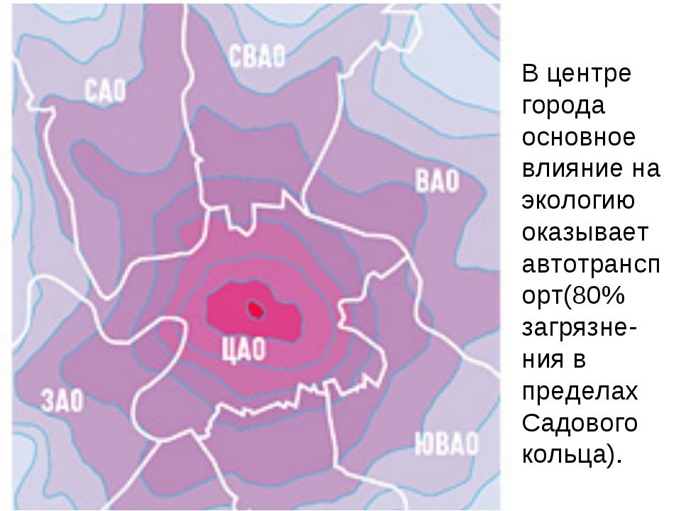В центре города основное влияние на экологию оказывает автотранспорт(80% загр...