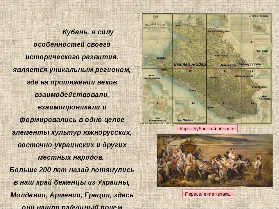 Переселение казака. Карта Кубанской области Кубань, в силу особенностей своег...