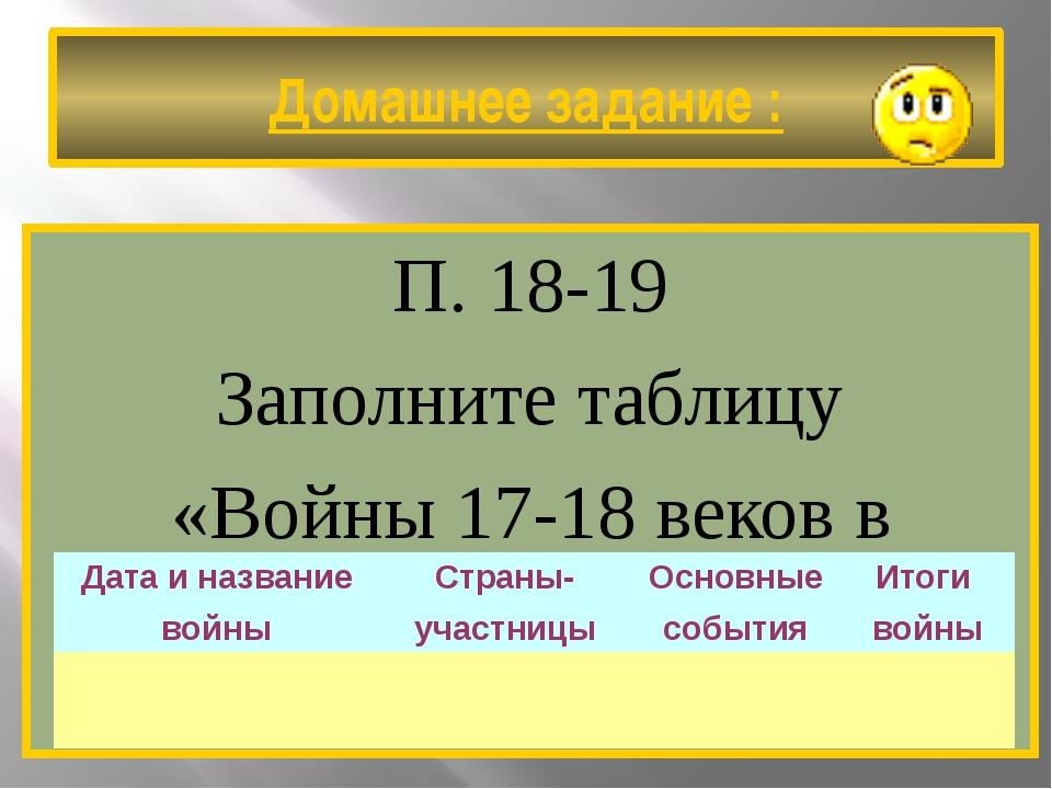 Домашнее задание : П. 18-19 Заполните таблицу «Войны 17-18 веков в Европе». Д...