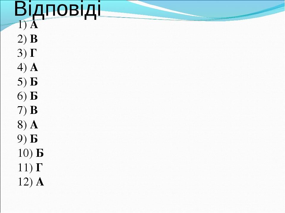 Відповіді 1) А 2) В 3) Г 4) А 5) Б 6) Б 7) В 8) А 9) Б 10) Б 11) Г 12) А