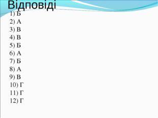 Відповіді 1) Б 2) А 3) В 4) В 5) Б 6) А 7) Б 8) А 9) В 10) Г 11) Г 12) Г