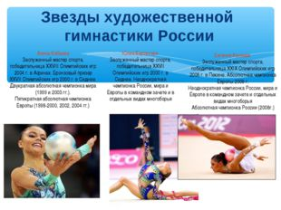 Звезды художественной гимнастики России Алина Кабаева Заслуженный мастер спор