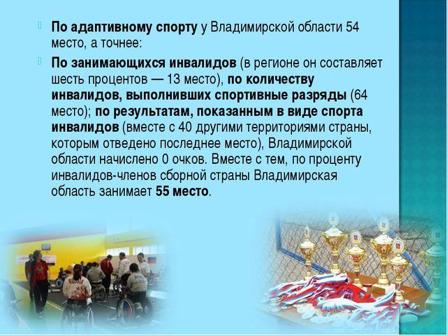 По адаптивному спорту у Владимирской области 54 место, а точнее: По занимающи...