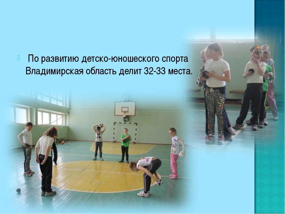 По развитию детско-юношеского спорта Владимирская область делит 32-33 места.