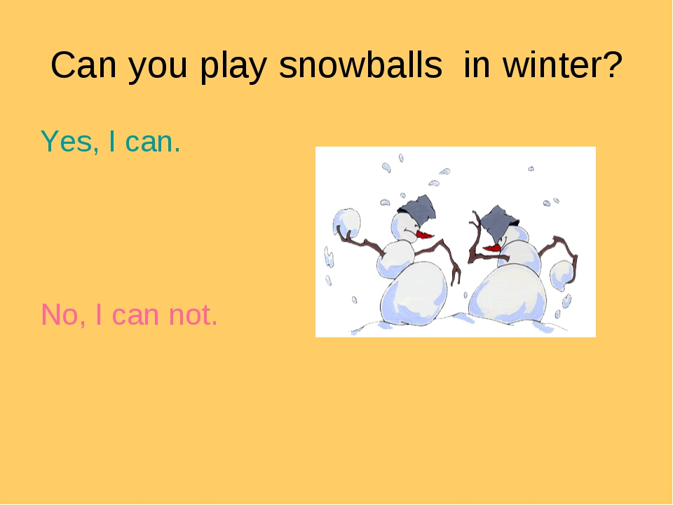 Can you play snowballs in winter? Yes, I can. No, I can not.