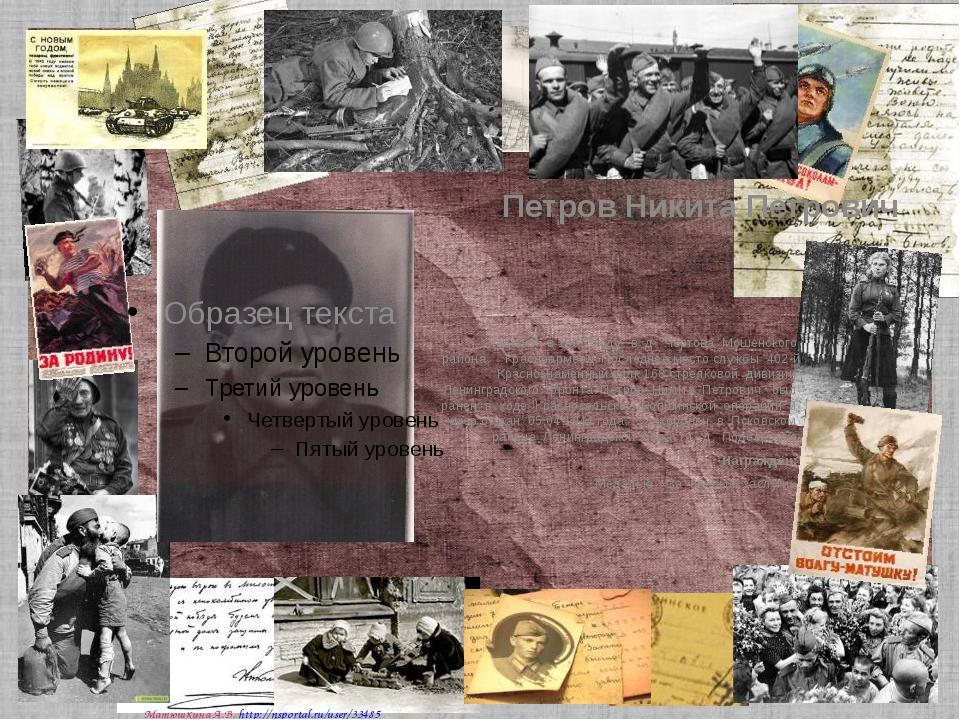 Петров Никита Петрович Родился в 1896 году в д. Чертова Мошенского района. К...