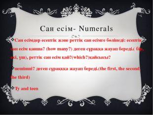 Сан есім- Numerals Сан есімдер есептік және реттік сан есімге бөлінеді: есепт