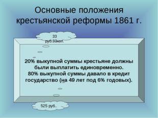 Основные положения крестьянской реформы 1861 г. 20% выкупной суммы крестьяне