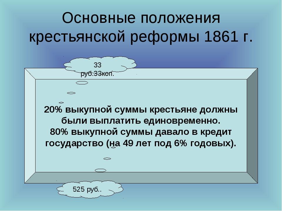 Основные положения крестьянской реформы 1861 г. 20% выкупной суммы крестьяне...