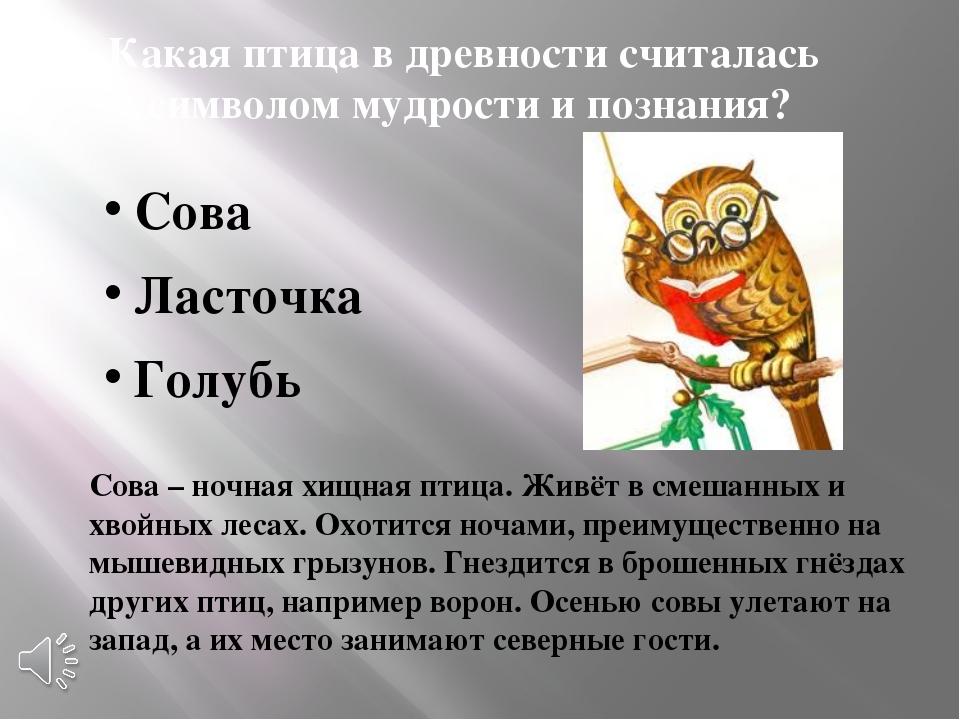 Какая птица в древности считалась символом мудрости и познания? Сова Ласточка...
