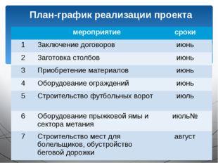 План-график реализации проекта мероприятие сроки 1 Заключение договоров июнь