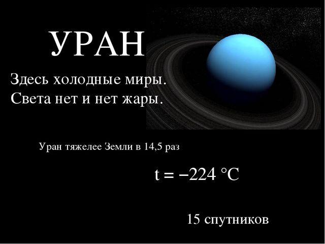 УРАН Здесь холодные миры. Света нет и нет жары. t = −224°C Уран тяжелее Земл...