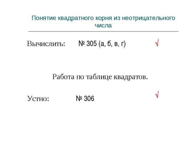 Вычислить: № 305 (а, б, в, г) Работа по таблице квадратов. Устно:  № 306 Пон...