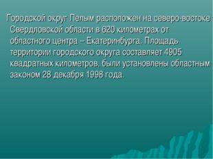 Городской округ Пелым расположен на северо-востоке Свердловской области в 62