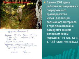 В июне 2004 здесь работала экспедиция из Свердловского краеведческого музея .