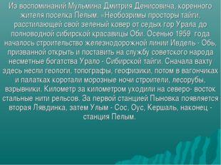 Из воспоминаний Мульмина Дмитрия Денисовича, коренного жителя поселка Пелым.