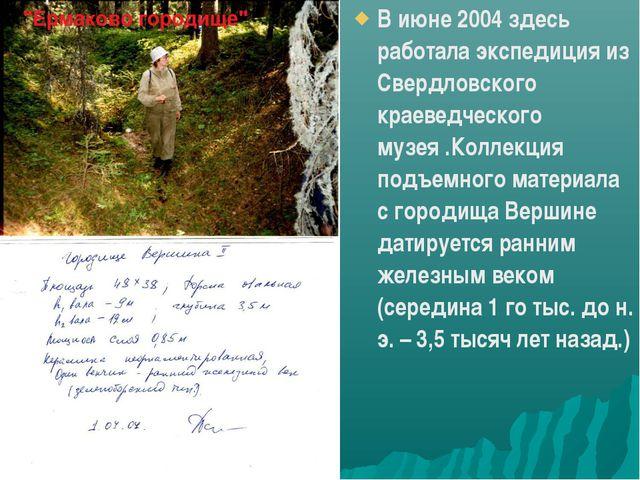 В июне 2004 здесь работала экспедиция из Свердловского краеведческого музея ....