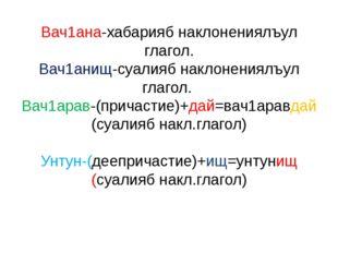 Вач1ана-хабарияб наклонениялъул глагол. Вач1анищ-суалияб наклонениялъул глаго