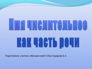 Подготовила: учитель «Вельжичской СОШ»Груздова Е.А.